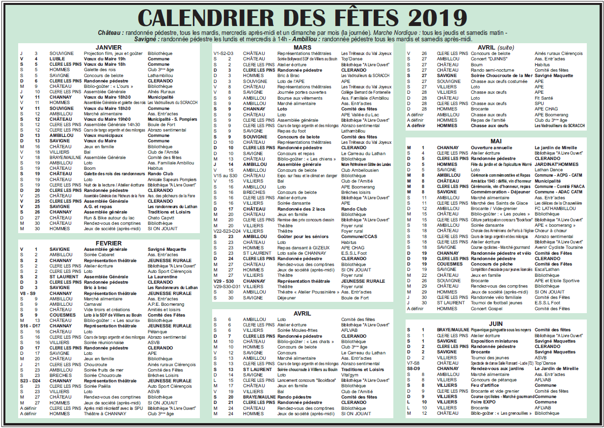 Calendrier 2019 1er semestre