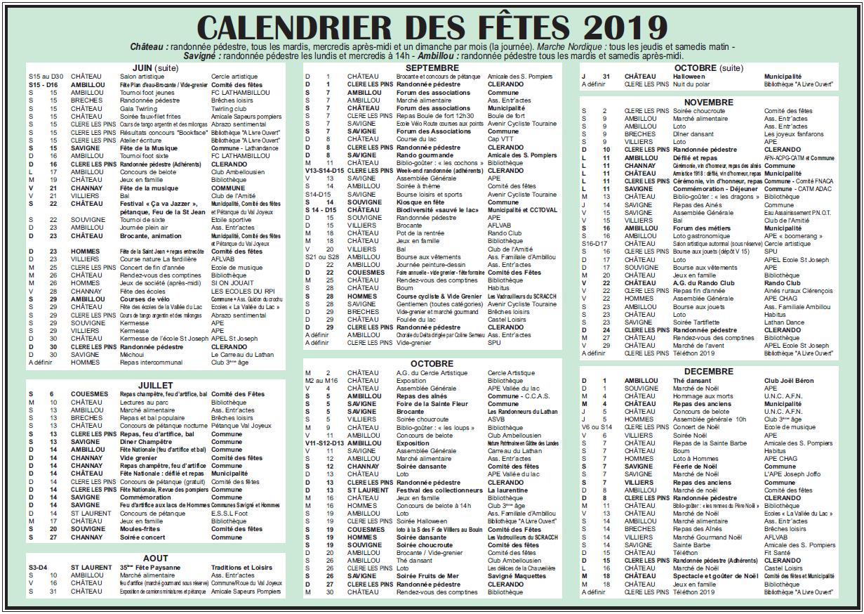 Calendrier 2019 2eme semestre